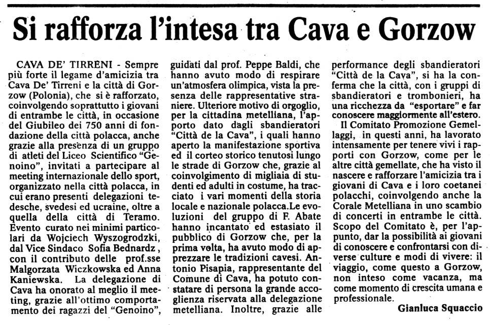 """da """"Cronache del Mezzogiorno"""" 1 luglio 2007"""